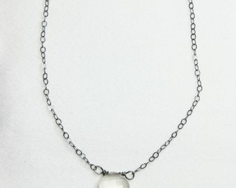 Tiny Gemstone Necklace, Oxidized Sterling Silver Chain