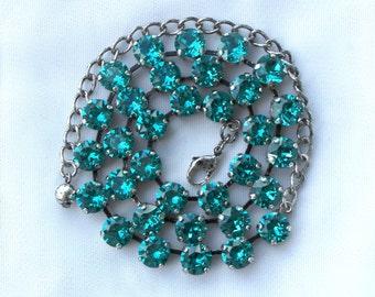 December Birthstone Necklace - 8mm Blue Zircon Swarovski Crystal Necklace