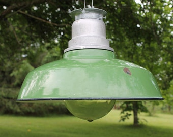 Large Vintage Green Warehouse Light, Crouse Hinds VDB3 Globe, Industrial Barn Pendant Light