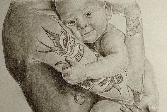 Custom graphite portrait drawing from your photo.  Drawn by an Award-Winning Artist! Free shipping.