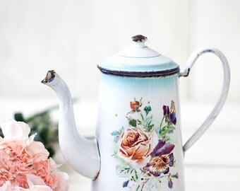 French Vintage Enamel Coffee Pot - 1920s Shabby Chic - Free Shipping Within the USA