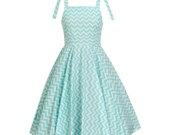 Zig Zag Casual Dress Mint Chevron Dress Summer Dress Sun Dress Pin Up Dress Retro Dress 50s Swing Dress Birthday Party Dress Plus Size Dress