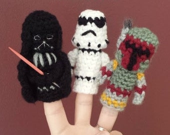 Star Wars Crochet Finger Puppet Patterns, Darth Vader, Stormtrooper, and Boba Fett finger puppets, Star Wars Crochet, Star Wars Villains