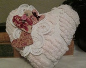 Chenille Heart Pillow- Vintage Fabric - Embellished Heart