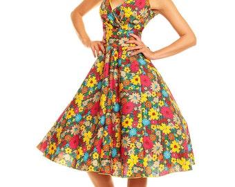Sarah-P floral vintage 50's retro rockabilly swing dress