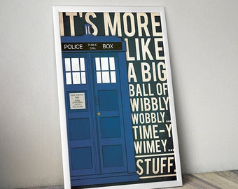 Doctor Who poster Tardis poster Doctor Who alternative poster Dr Who quote poster Science Fiction poster Quote poster