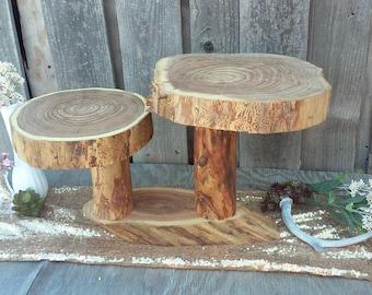 SALE!! Double Tiered Cupcake Stand ~ Elm Wood Cake Stand ~ Rustic Wedding, Barn Wedding, Rustic Cake Stand, Log Cake Stand (CS5005)