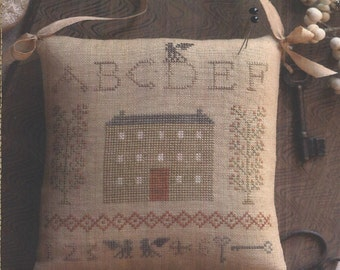 The Sampler House cross-stitch sampler pinkeep pattern by Brenda Gervais for Country Stitches #CS111 (2013)  K0439
