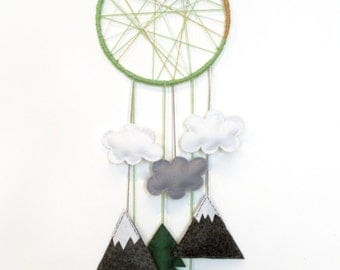 Adventure Dreamcatcher mountain wall hanging for baby's room.