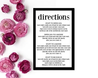 Wedding Information Card Printable - Blank Wedding Card Download - Wedding Info Card - Black & White Wedding Card - Directions, WBWD8