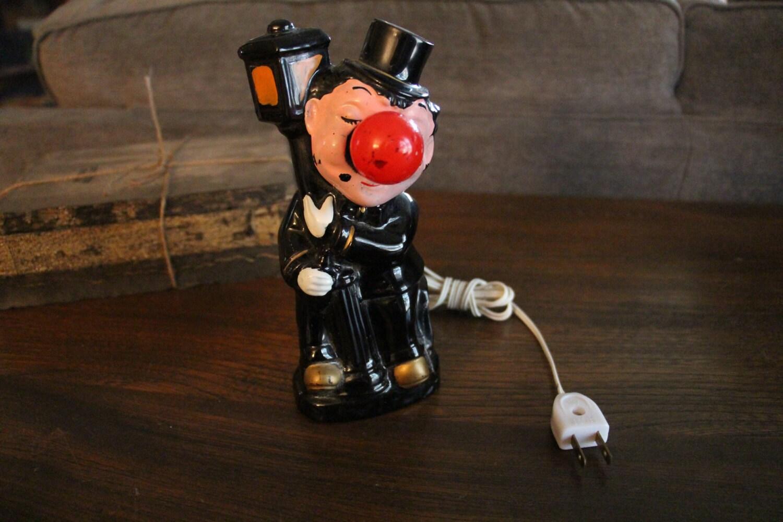 Novelty Lamp Posts : Vintage 1950s Redware Red Nose Drunk on Lamp Post Novelty Lamp