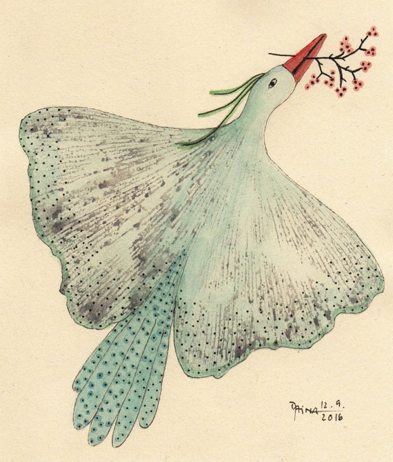 I Bring Something Good To You - Ginkgo Bird - Plant Print With Watercolors - Unique