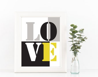 Love Modern Nursery Wall Art, LOVE room Decor, Black White and Yellow Love Print Instant download, Love art print (BabyArt X5)