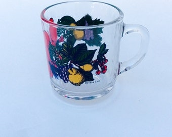 Vintage  AHC Christmas Clear Glass Hot Cold Mug Cup with Red Bow 1994 Holiday Mugs Painted Holly Pine Cones Pears Retro 90s Kitchen Decor