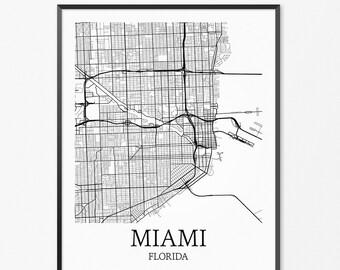 Miami Map Art Print, Miami Poster Map of Miami Decor, Miami City Map Art, Miami Gift, Miami Florida Art Poster