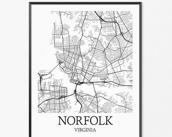 Norfolk Map Art Print, Norfolk Poster Map of Norfolk Decor, Norfolk City Map Art, Norfolk Gift, Norfolk Virginia Art Poster