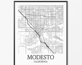 Modesto Map Art Print, Modesto Poster Map of Modesto Decor, Modesto City Map Art, Modesto Gift, Modesto California Art Poster