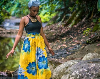 Yellow Floral Skirt with Side Slit