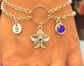 Sale chain bracelet, flower bracelet, initial bracelet, personalized gift for her, charm jewelry, gift for her, lesbian girlfriend