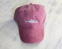 Shark baseball hat, Pigment dyed hat, Beach hat, Nautical hat, Spring break hat