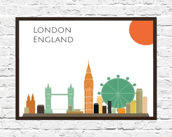 London Cityscape, London Art, Skyline, Cityscape, London Print, City Print, City Poster, Wall Art, London Skyline, Abstract
