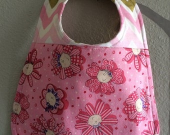 Bib for baby or toddler girl, Adorable baby faces fabric, Robert Kaufman chevron fabric backing, Ready to ship