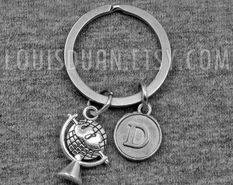 Globe keychain etsy silver tellurion key chain globe world map keychain initial keychain your choice of sciox Images