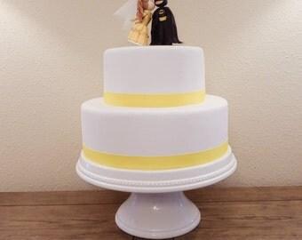 Belle (Light Brown Hair) and Batman Cake Topper. Wedding Cake Topper. Belle & Batman.