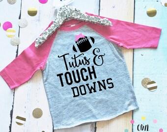 Toddler Football Shirt. Toddler Baseball T-Shirt. Toddler Girl Shirt. Tutus and Touchdowns Shirt. Football Season Shirt. Toddler Tee.