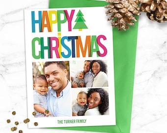 Rainbow Christmas Photo Card / Christmas Card / Digital Holiday Card / Photo Holiday Card / Custom Christmas Card / Printable Christmas Card