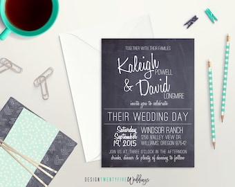 Chalkboard Wedding Invitation Suite // 5x7 // Chalkboard-Style // PRINTABLE // The Chalkboard Collection