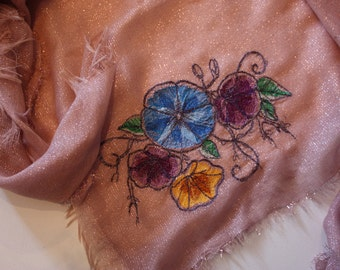 Scarf scarf with flower motif