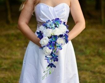 Galaxy orchid cascading bouquet ~ Winter wedding flowers ~ Cascade bridal bouquet ~ Winter bridal bouquet ~ White purple wedding bouquet