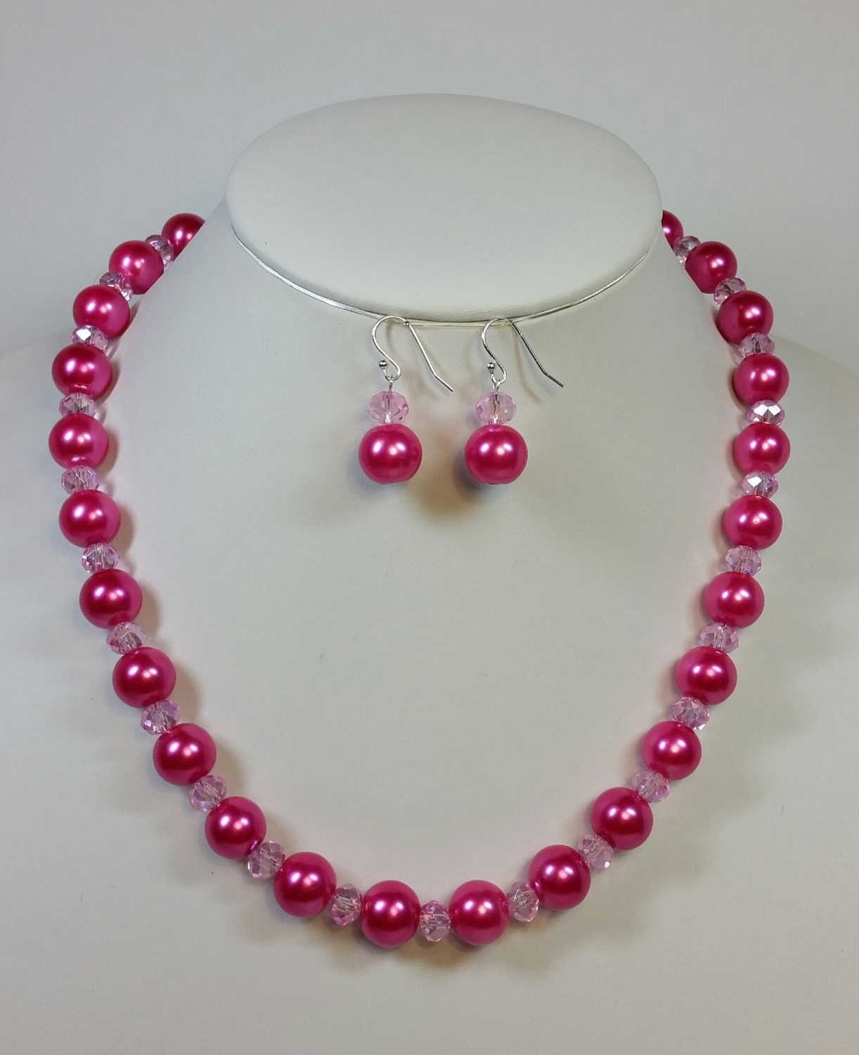 20 inch hot pink pearl and crystal necklace and earring set