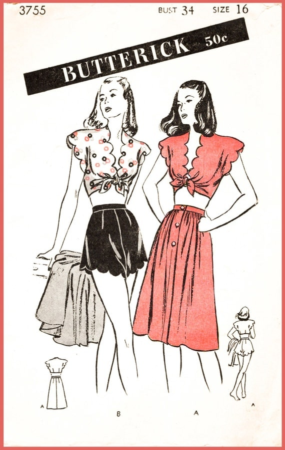 1940s Sewing Patterns – Dresses, Overalls, Lingerie etc 1940s 40s repro vintage sewing pattern beachwear playsuit crop top high waist shorts sun skirt scallop edge bust 34 b34 reproduction  AT vintagedancer.com