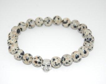 Skull Bracelet,Dalmatian Gemstone 8mm Round Beads, Elastic Bracelet Fit All, Gemstone Stretch Bracelet, Men,Women, Beaded Jewelry