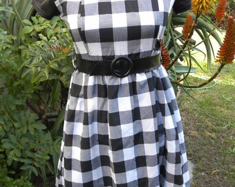 cute black white check vintage cotton frill dress, rockabilly, 60s style, size uk 10, usa 8 28 inch waist