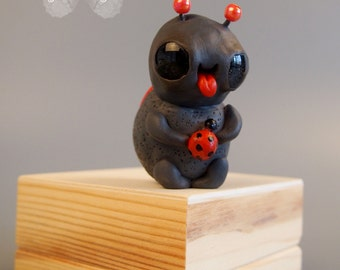 OOAK - LADYBUG - kawaii Dont Bug Me series  - miniature figurine - polymer clay - dollhouse