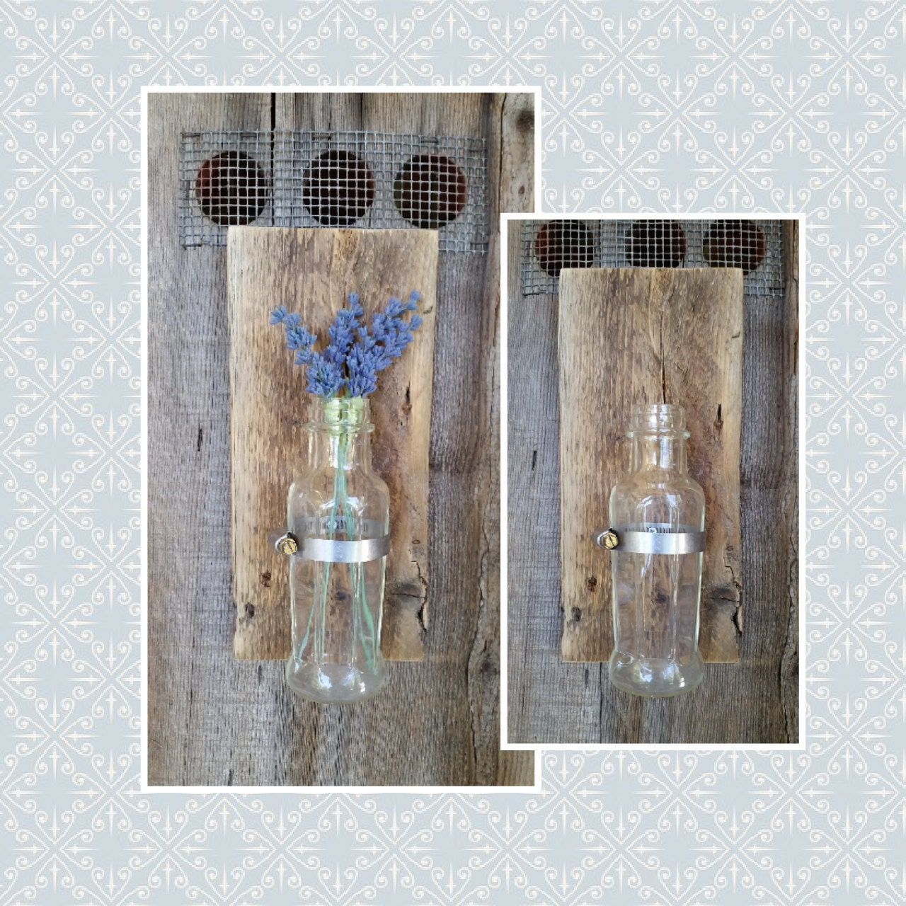 Rustic Wooden Flower Wall Sconce. Vintage glass bottle rustic
