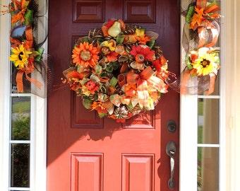 Deco Mesh Thanksgiving Garland 6' Mantle Fall Garland 9' door Garland 3' Mailbox Swag centerpiece tabletop decoration
