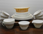 Vintage Pyrex Corelle Butterfly Gold Dish Set, Cream and Sugar, Small Casserole