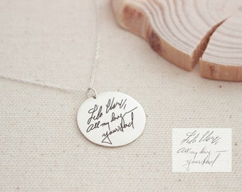 40% OFF* Memorial Signature Disc Necklace - Actual Handwriting Circle Charm Necklace - Keepsake ...