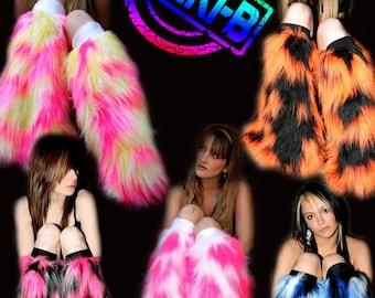 Bright Neon Camo fluffies leg warmers faux fur long pile fluffy boots plur rave clubwear goth punk rave cyber