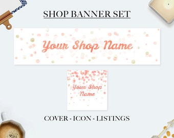 Etsy shop banner set, etsy cover banner, pink confetti banner, watercolor banners, premade banner set, shop graphic, pink gold confetti