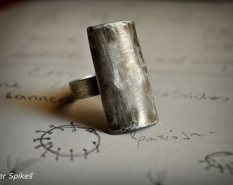 Handmade silver ring,Silver simple ring,Modern ring,Silver oxidized ring,Rectangle ring,Plain silver ring