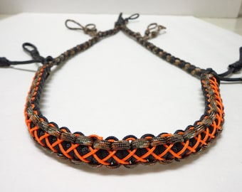 Paracord Duck/Goose Call Lanyard Camo Black and Orange Stitched