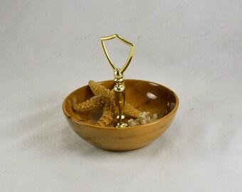Myrtle Wood Bowl Nut Dish - Center Handle - Gold Tone - Rare Oregon Wood