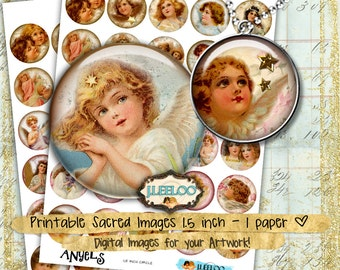 Digital sheet ANGELS 1.5 inch circle - angel merry christmas holidays jewelry pendant clipart magnet - instant download printable - tn368