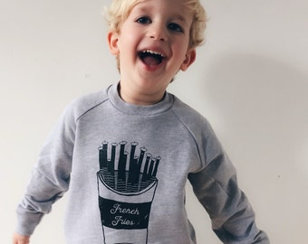 French Fries Sweatshirt, Kids Sweatshirt, Toddler Sweatshirt, Printed Sweatshirt, Hipster Kids, Kids Sweater