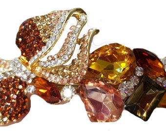 New Gold Amber & Topaz Cluster  Crystal  3 '' Hair Barrette- Lever Back